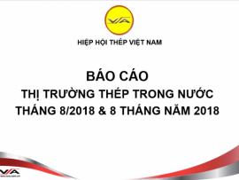 Tình hình thị trường thép Việt Nam tháng 8/2018 và 8 tháng năm 2018
